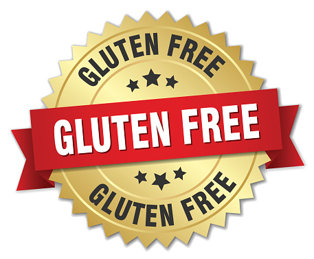 gluten free 3d gold badge with red ribbon